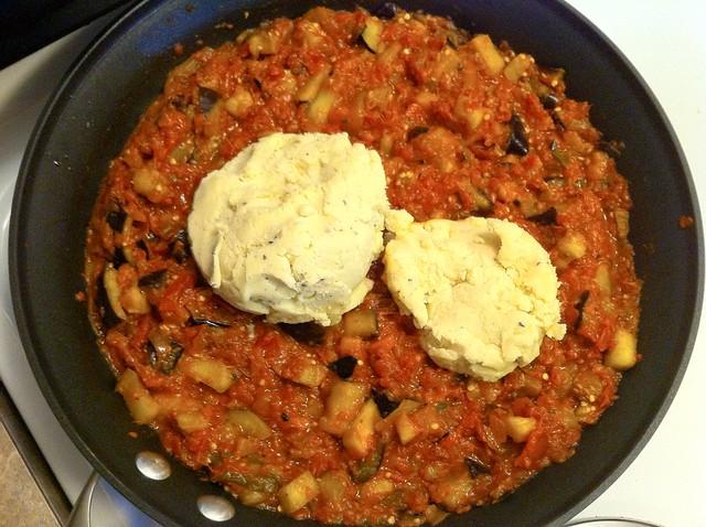 Homemade Alfredo Sauce Added to Eggplant Marinara