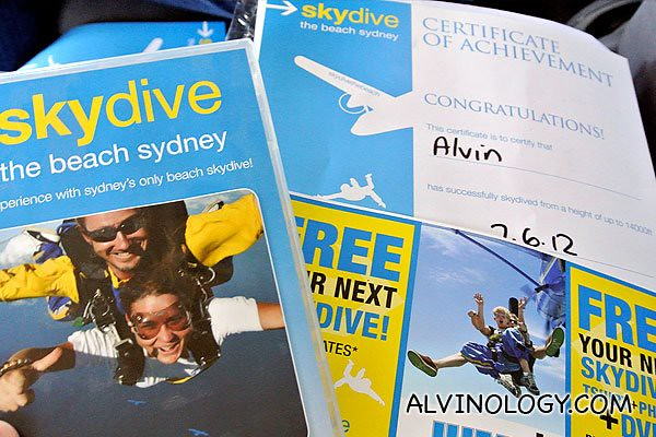 My certificate for completing the dive