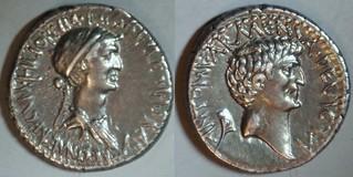 543/1 Cleopatra, Mark Antony Denarius, ANTONI ARMENIA DEVICTA, CLEOPATRAE REGINAE REGVM, Cleopatra, prow, Antony, Armenian tiara. Asia 32BC.