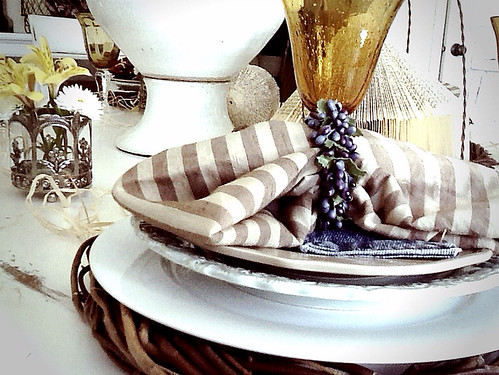 Denim Tablescape, Denim Silveware holders, Elegant Rustic Tablescape using denim, gold goblets, grapevine wreath chargers