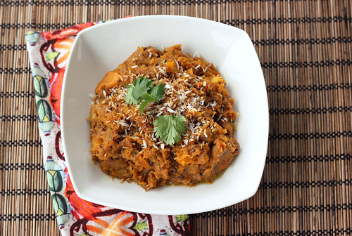 Indian-Spiced Butternut Squash Mash with Toasted Coconut (Gluten-free + Vegan)