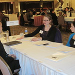 IWU Alum Rachel Kagan (right) and fellow recruiter of Allstate interviewing a student --