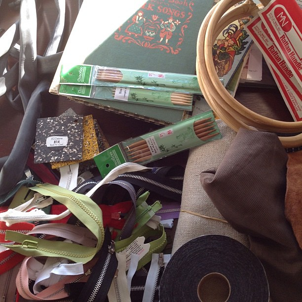 And here is the very happy jumble of some of my haul from SCRAP. Now to find a box to ship it all back to my studio!