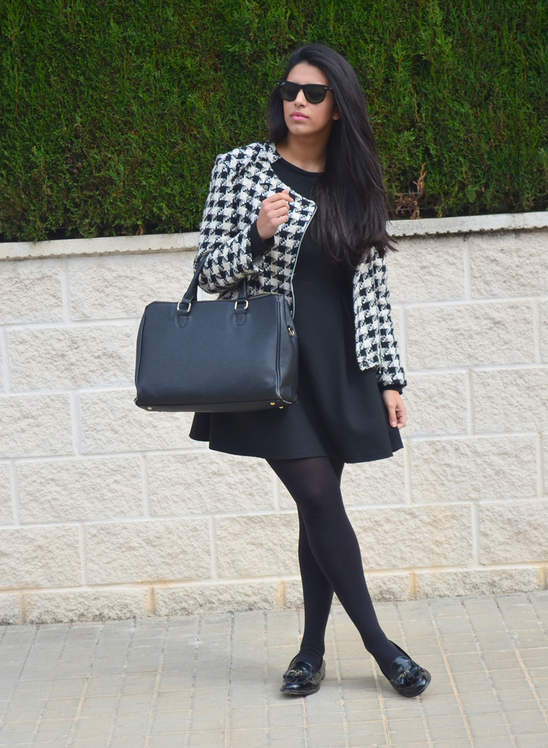 florenciablog tweedjacket estampado pata de gallo little black dress LBD mocasines zara (2)