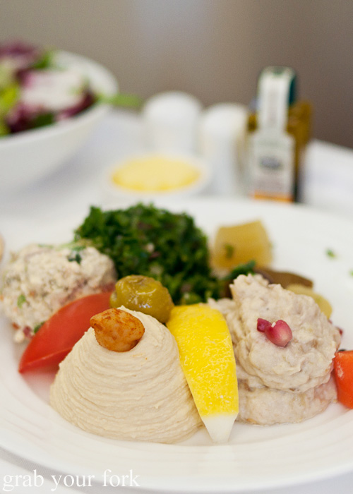 Traditional local Arabic mezze entree Business Class lunch on the Emirates A380