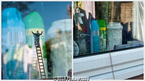 Cleaning windows.
