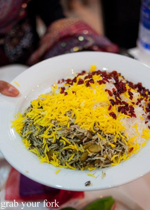 Baghali rice with broad beand and pilaf rice during a Frying Pan Adventures food tour in Dubai