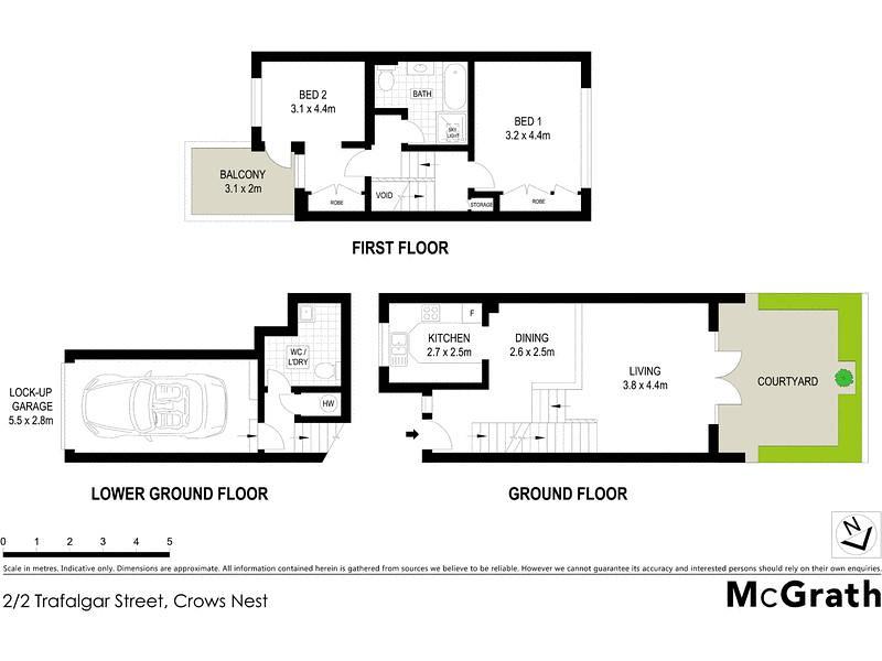 Floorplan for 2 2 trafalgar street crows nest nsw 2065 for Crows nest house plans
