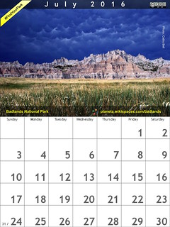 #FindYourPark July 2016 Calendar: Badlands National Park @BadlandsNPS @NatlParkService @NPCA