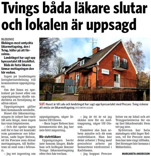 2012-03-27 Sydöstran, Läkarstationen stängs