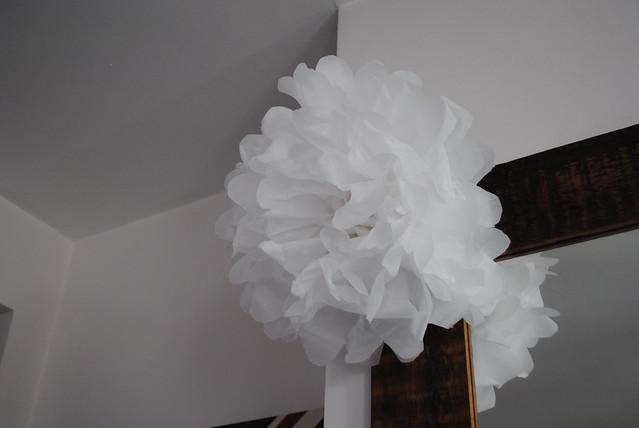 White paper pom pom