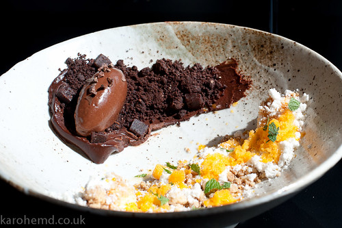 Bitter chocolate textures, sea buckthorn, hazelnut, mint