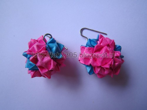 Handmade Jewelry - Origami Paper Globe Earrings (1) by fah2305
