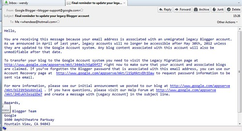Google Blogger email
