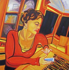 Texting, a painting of a woman using a phone