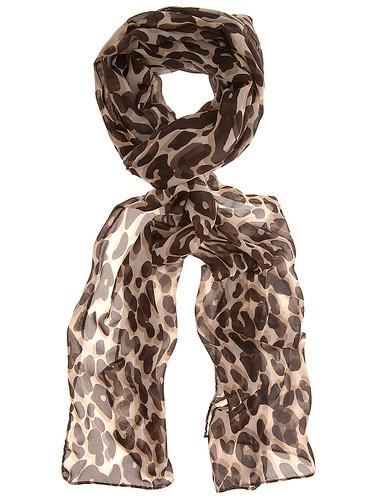 Leopard print skinny scarf