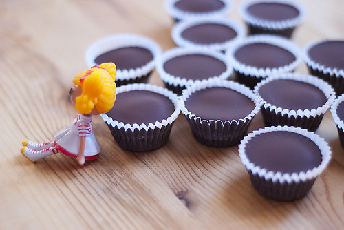 Homemade peanut butter cups styled by a two year old