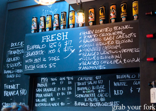 blackboard menu at buffalo dining club darlinghurst