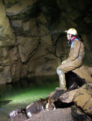 robin contemplates sump 1 Fergus River Cave by Clare Caving Club