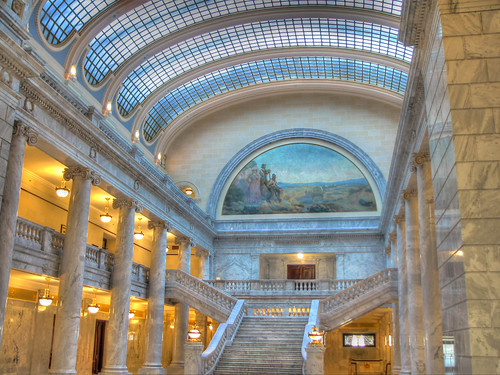 city blue roof light urban usa reflection building art window public glass beautiful stone wall architecture modern floors america painting lights design hall utah office construction shiny stair gallery arch open power view place state interior space empty room unitedstatesofamerica rich pillar wide perspective corridor style headquarters indoor nobody palace structure ceiling architectural illuminated lobby capitol saltlakecity saltlake staircase american inside column marble ornate luxury fresco hdr olétusfotos