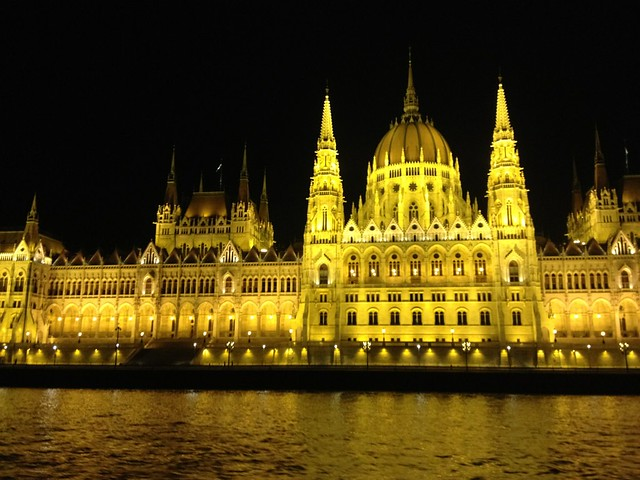The Hungarian Parliament building after dark