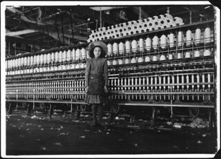 Young spinner in Roanoke Cotton Mills. Said 14 years old, but it is doubtful, May 1911