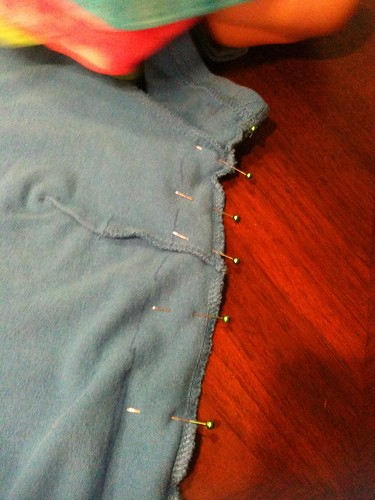 Dress alteration- marked new seam, pinned.