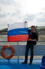 Russian flag on the boat