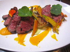 Grilled Hanger Steak: Freekeh, Smoked Carrot, Date Puree, Grilled Chickpeas, Yogurt