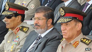 Dr. Mohamed Morsi, the president of Egypt, seating alongside top Egyptian military officials, Field Marshal Tantawi on his right and Chief Gen. Sami Enan. The two political forces are adjusting to the outcome of the national elections. by Pan-African News Wire File Photos