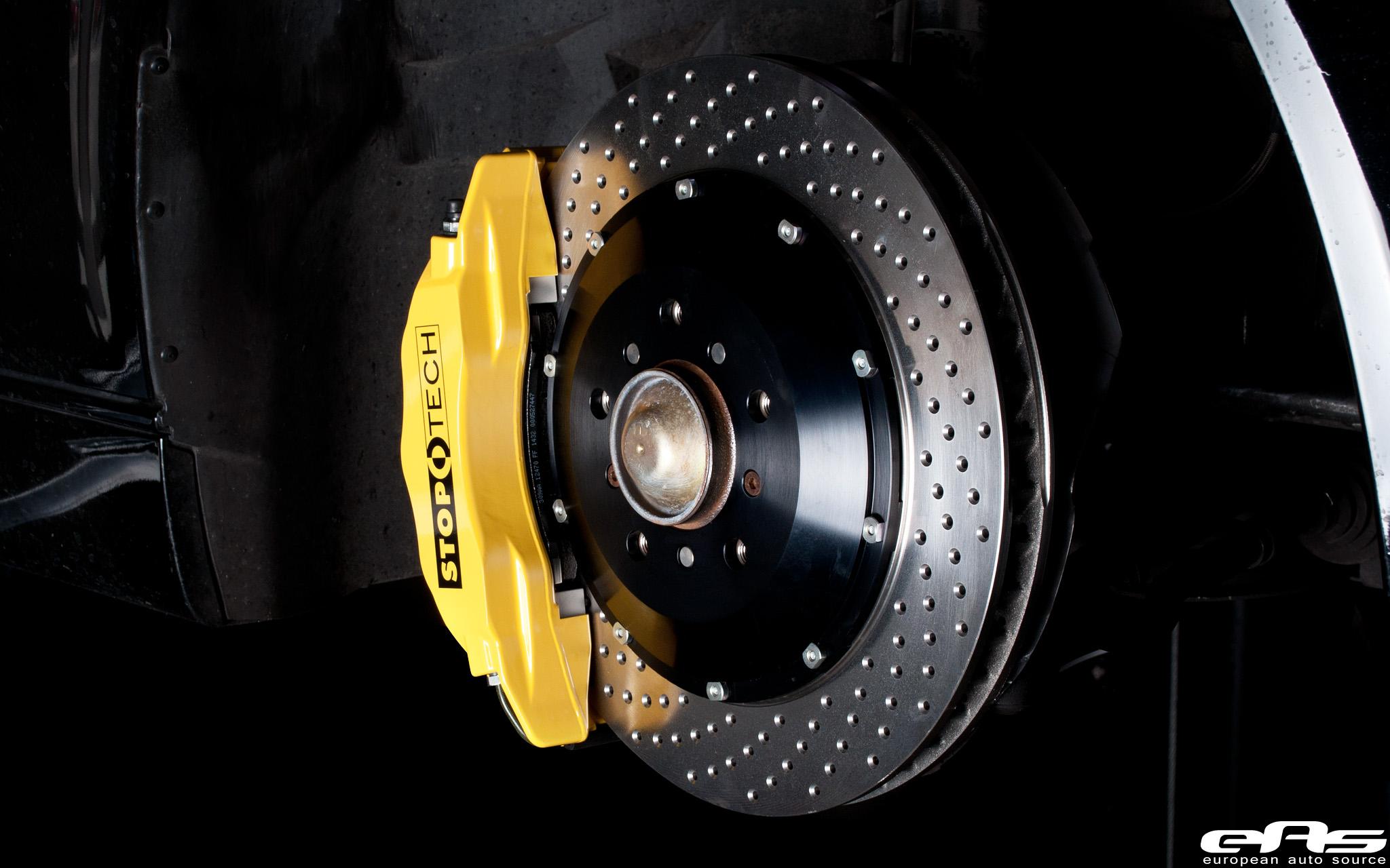 Yellow Stoptech Big Brake Kit Installed On Black E46 M3