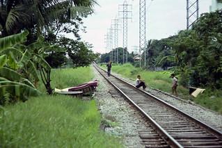 Railroad, footpath & playground
