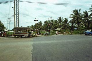 A typical barrier-lessThai rail crossing