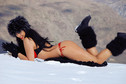 Bikini Red Fur Sexy Girl Snow