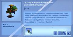 Le Cirque Esprit- Frog Prince Carousel Spring Rider