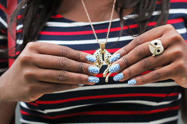 polka dot nails leopard necklace