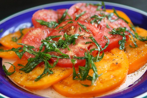 Tomato Salad with Rice Vinegar and Basil