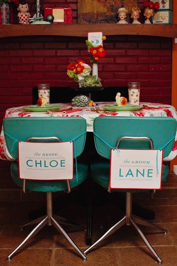 retro wedding table signs