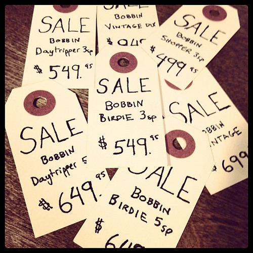 Bobbin sale prices during 4-year anniversary sale at Flying Pigeon LA bike shop
