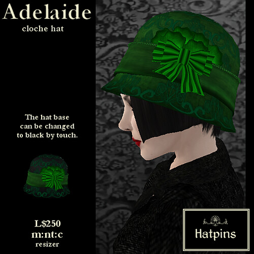 Hatpins - Adelaide Cloche Hat - Green Apple