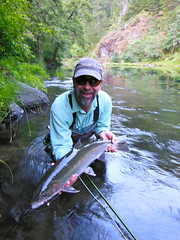 Craig with a big bright dry fly Umpqua River buck