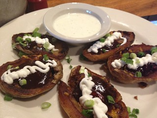 Brisket-stuffed potato skins