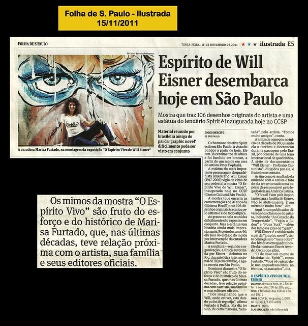 """""""O espírito de Will Eisner desembarca hoje em São Paulo"""" - Folha de São Paulo - 15/11/2011"""