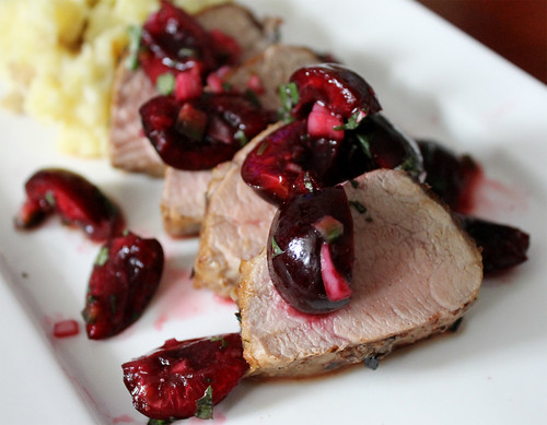 Grilled Pork Tenderloin with Cherries Two-Ways