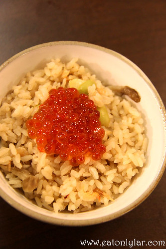 Chestnut and Mushroom Rice with Ikura, Kushiyaki Kuni