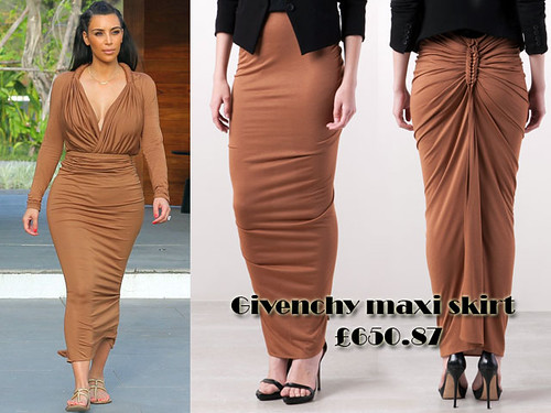 Kim in chestnut brown Givenchy maxi skirt