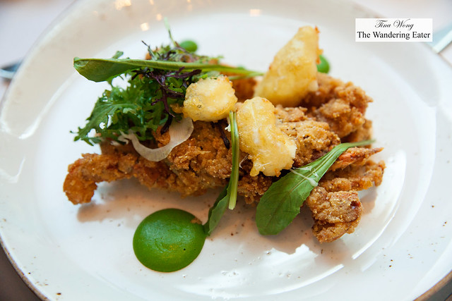Fried softshell crab, Georgia cheese curds, smoked Louis, green coriander