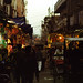 A night scene unfolds in Old Delhi, India