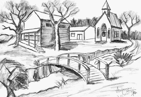 Pencil Sketches Of Nature Scenery simple scenery of nature for