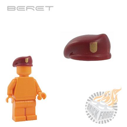 Beret - Dark Red (gold badge print)